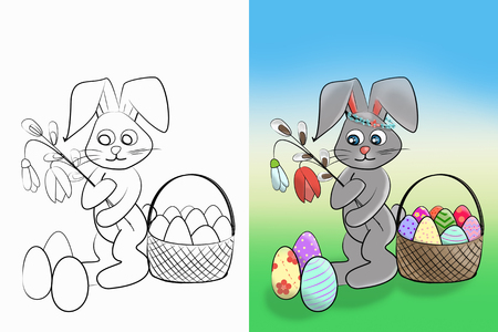 Easter coloring.  Black and white raster illustration and colorful illustration coloring book for kids. Easter bunny with a willow, a snowdrop, a tulip and a basket with eggs. Stock Photo