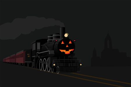 Ghost train in halloween night Stock Illustratie