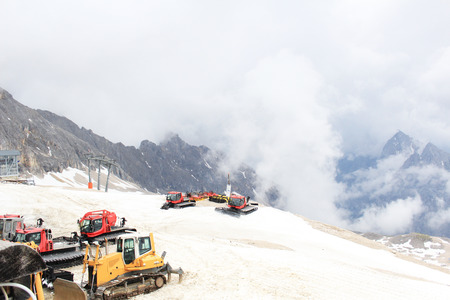 Snowmobile at Zugspitze mountain  photo