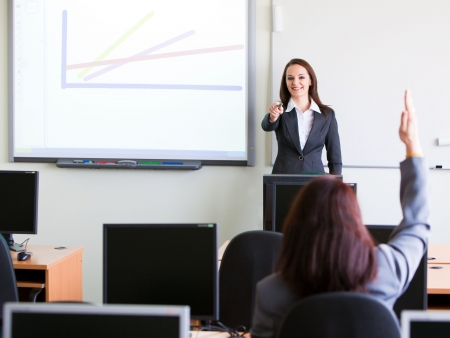 woman making a presentation in class