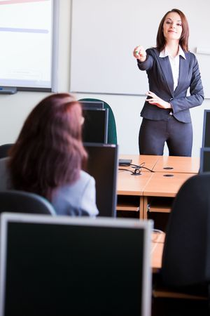 woman making a presentation in class photo