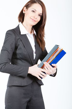 business woman holding folders with documents