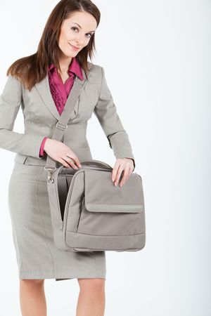 business woman opening empty case photo