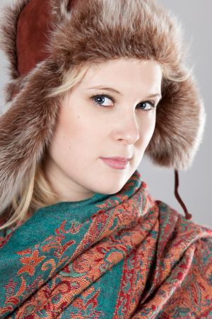 young adult woman wearing winter clothing Stock Photo