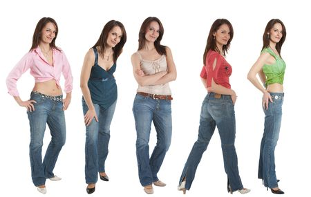 young adult woman wearing jeans and various tops in five different poses photo
