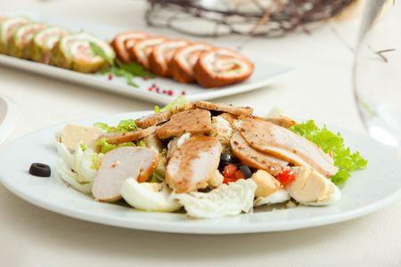 salad plate served on restaurant table photo