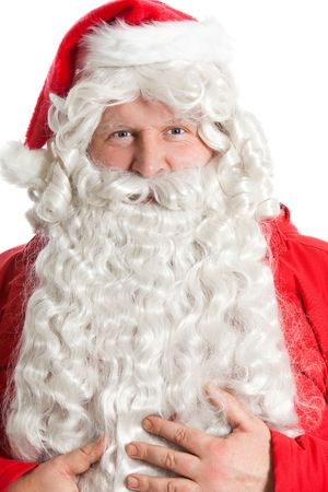 funny smiling Santa Claus holding bear with hands Stock Photo