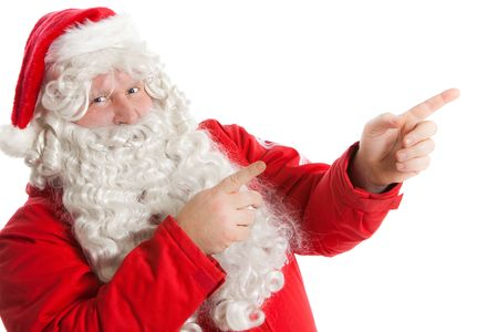 look right: funny Santa Claus showing in right direction with two fingers