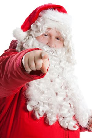 funny smiling Santa Claus showing with finger to the camera