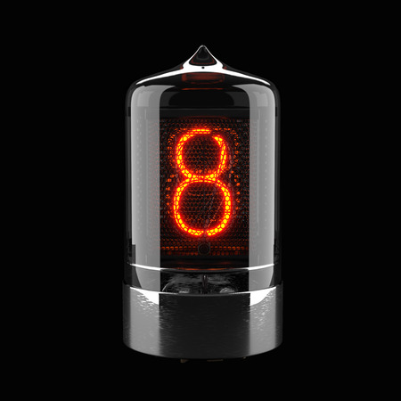 Nixie tube indicator isolated on black. The number eight of retro. 3d rendering 스톡 콘텐츠