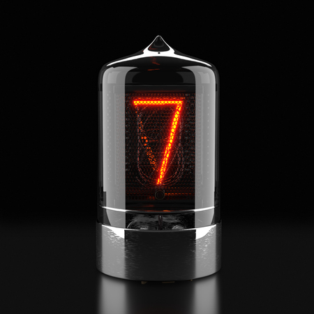 Nixie tube indicator, lamp gas-discharge indicator on dark background. The number seven of retro. 3d rendering