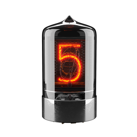 Nixie tube indicator isolated on white. The number five of retro. 3d rendering