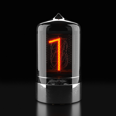 Nixie tube indicator, lamp gas-discharge indicator on dark background. The number one of retro. 3d rendering