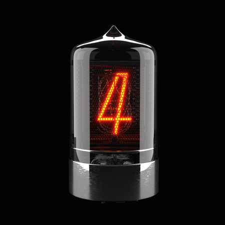Nixie tube indicator isolated on black. The number four of retro. 3d rendering