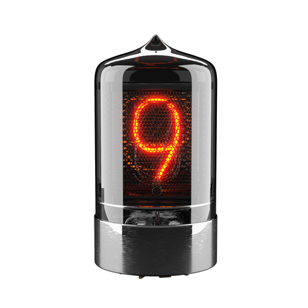 Nixie tube indicator isolated on white. The number nine of retro. 3d rendering 스톡 콘텐츠