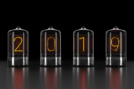 Nixie tube indicator, lamp gas-discharge indicator on dark background. The number 2019 of retro. 3d rendering 스톡 콘텐츠