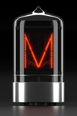 Nixie tube indicator, lamp gas-discharge indicator on dark background. Letter m of retro. 3d rendering.
