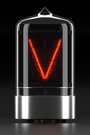 Nixie tube indicator, lamp gas-discharge indicator on dark background. Letter