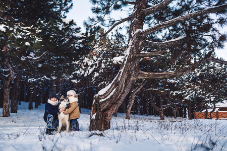 Cheerful little boy and girl are standing with their big dog in the winter near a crooked tree in the forest Stok Fotoğraf