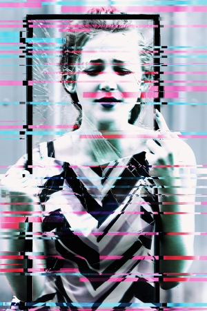 Photo with glitch effect. Beautiful teen girl holding broken glass in her hands. concept to stop violence against women