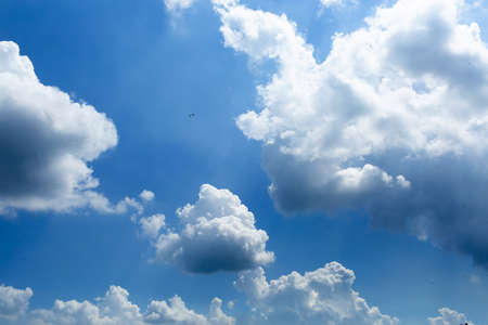 daytime sky with cumulus clouds. small birds high in the sky