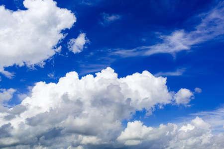 blue sky with cumulus clouds close up