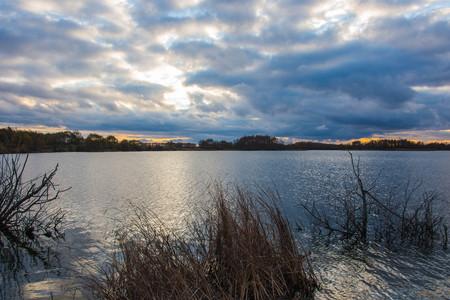 beautiful sunset on the lake nature