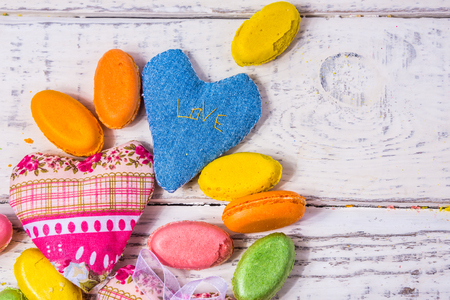 assorted chocolates arranged on a background for greeting card , site header, concept sweet celebration of love