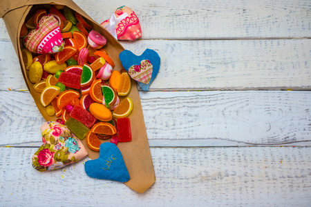 candy in the bag, in the background, the concept of a childrens party , is harmful to health