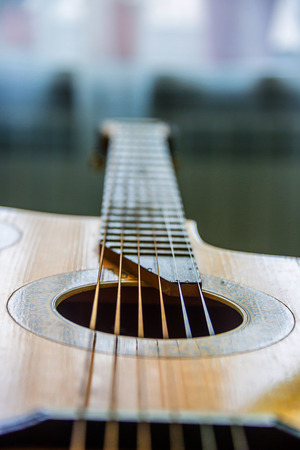 guitar neck with strings, musical instrument, music repair Stock Photo