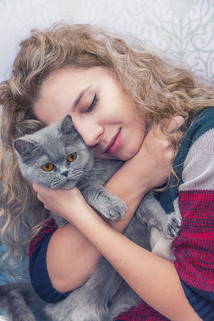 a young girl hugs a Scottish cat, dark, kisses her favorite cat in the nose
