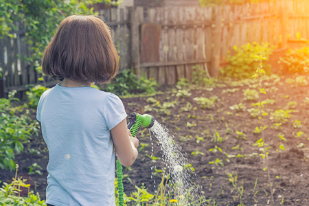 girl in a blue T-shirt watering the garden with water from a green hose in sunny weather