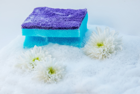 Sponge for washing dishes in soapy foam with flowers on white background Фото со стока