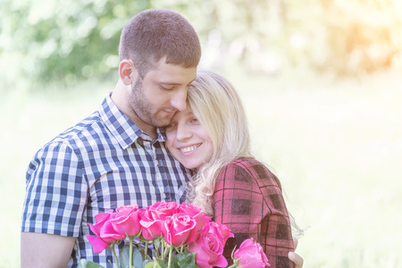 couple in love embraces each other on the day of engagement