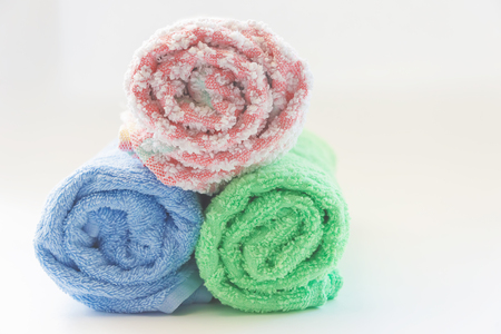 bath towels on a white background. SPA treatments. body care Archivio Fotografico