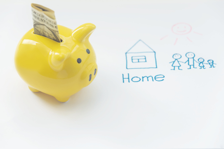 piggy Bank, for money to buy a home mortgage concept