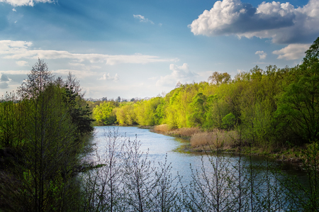 rivers, ponds natural landscape in summer and late spring Archivio Fotografico - 125132831