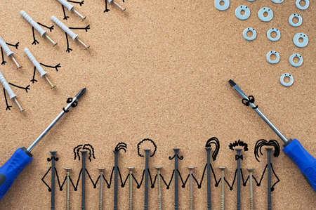 Repair. Self-tapping screws, washers, and screwdrivers with bitmap elements on the desktop. The concept of a repair shop Close-up.