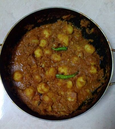 Spicy Potatoes Gravy-this food is very tasty and spicy,this image is captured by Varshaa Kalamdaane from India Stok Fotoğraf