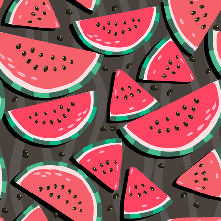 Juicy watermelons - trendy seamless pattern on a dark background - Vector by var-chun