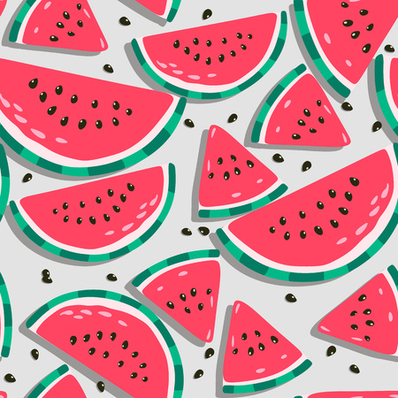 Juicy watermelons - trendy seamless pattern on background