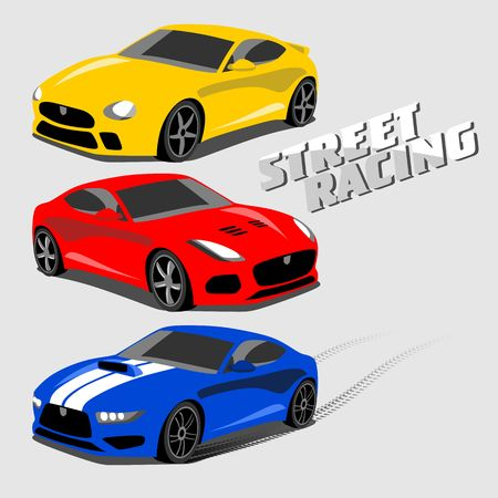 Cool sport cars, Street racing illustration on light background.