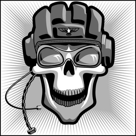 cráneo militar de la vendimia Ilustración de vector