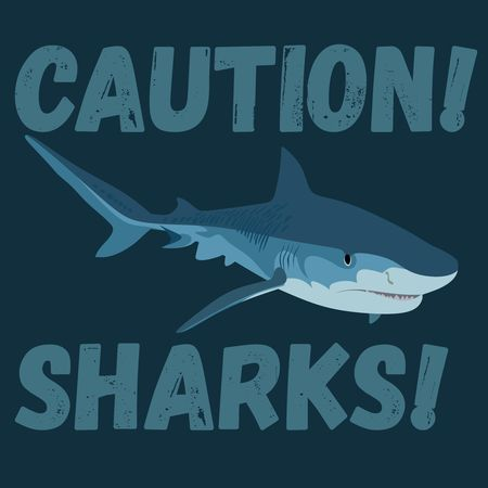 angry white shark stylish vector print Çizim