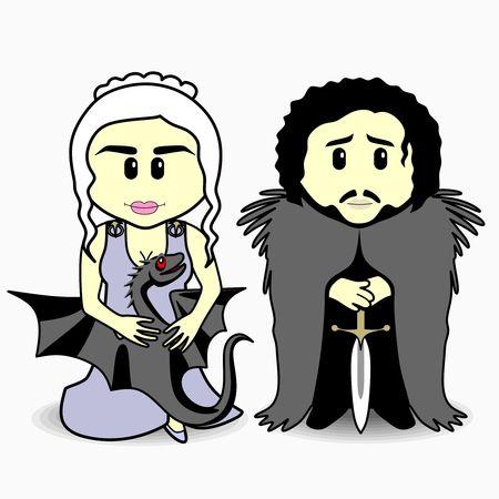 Personajes de la película sobre tronos, dibujos animados vectoriales