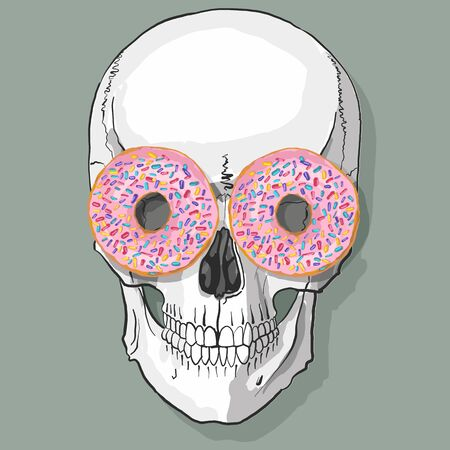 stylish human skull with sweet donuts eyes 向量圖像