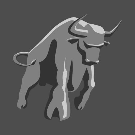 angry bull stylized for logo, print or tattoo