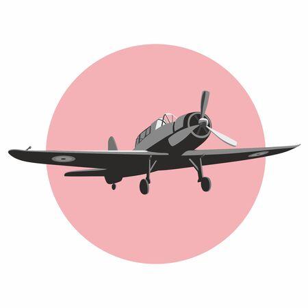 vintage airplane - emblem or logo Stock Illustratie