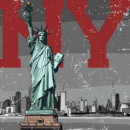 Statue of Liberty in New York against the backdrop of the city Stock Illustratie
