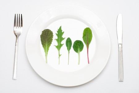 potherb: Salad leaf on the plate